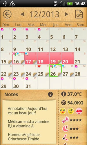 application smartphone calendrier periode