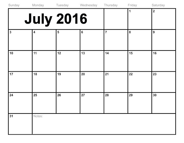 July 2016 Calendar Template Word