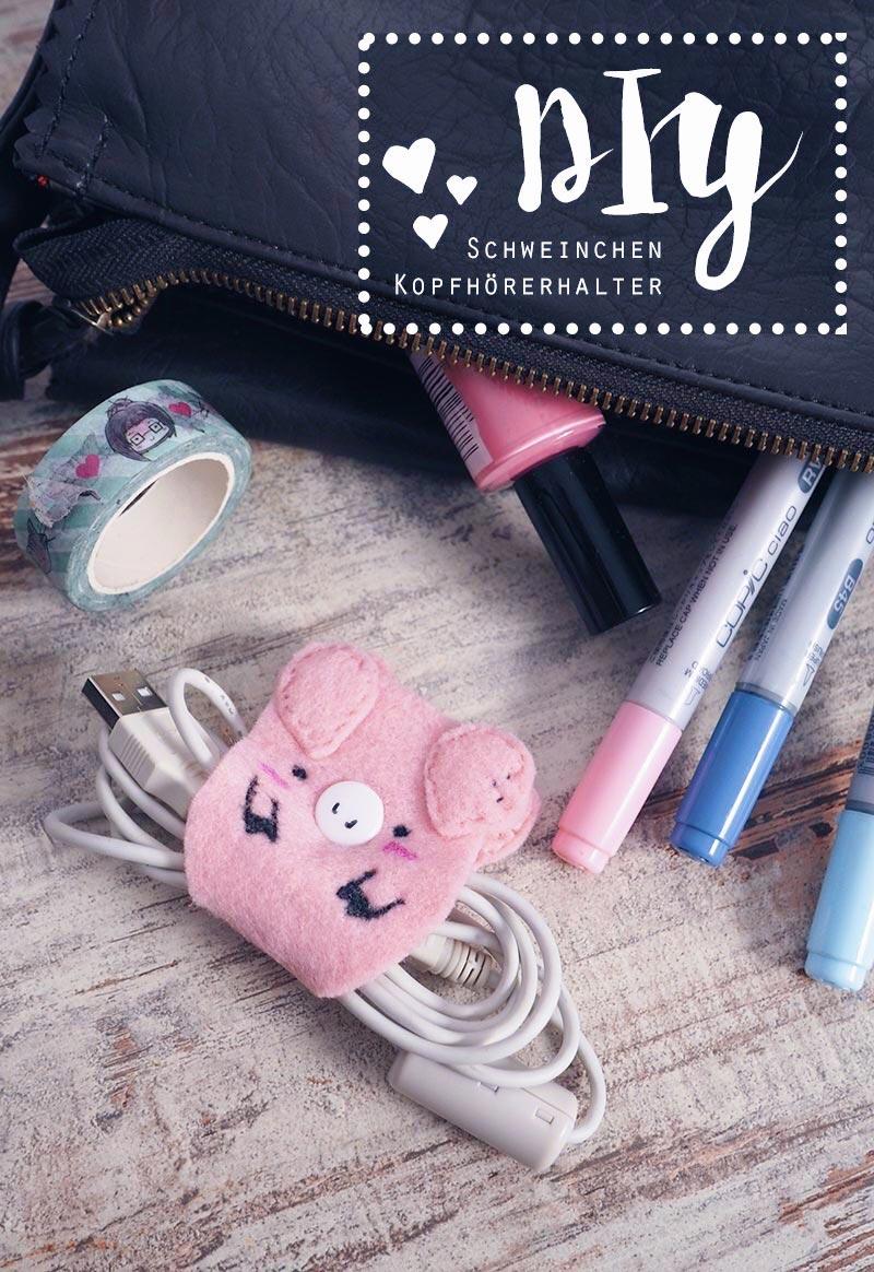 KuneCoco • DIY • Schweine-Kopfhörerhalter • Kabel-Halter selbst gemacht