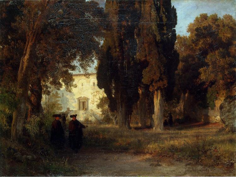 Achenbach Oswald - Garden in a Monastery