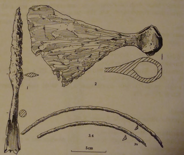 Wczesnośredniowieczny topór typy M wg Petesona lub II wg Nadolskiego, znaleziony w Skokówku w Wielkopolsce - rycina