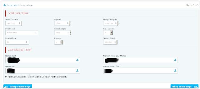 halaman detail data pasien