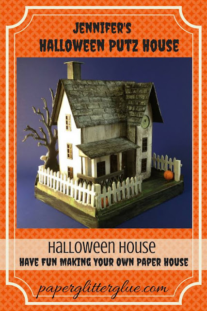 Jennifer's Halloween House made of paper and cardboard #putzhouse #halloweenhouse #howtomakehalloweenhouse