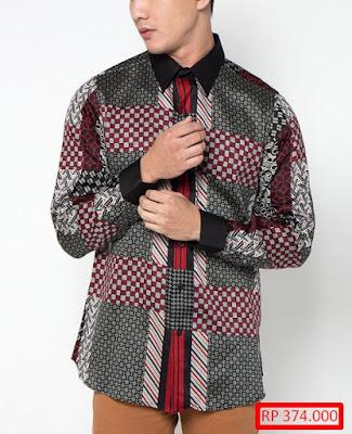 desain baju batik pria kombinasi