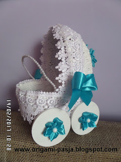 wózek, narodziny, dziecka, chrzest, biel, biały, upominek, dodatek, prezent, koła, turkus, rękodzieło, handmade,