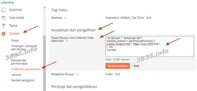 Cara Mengalihkan Halaman 404 di Blogger