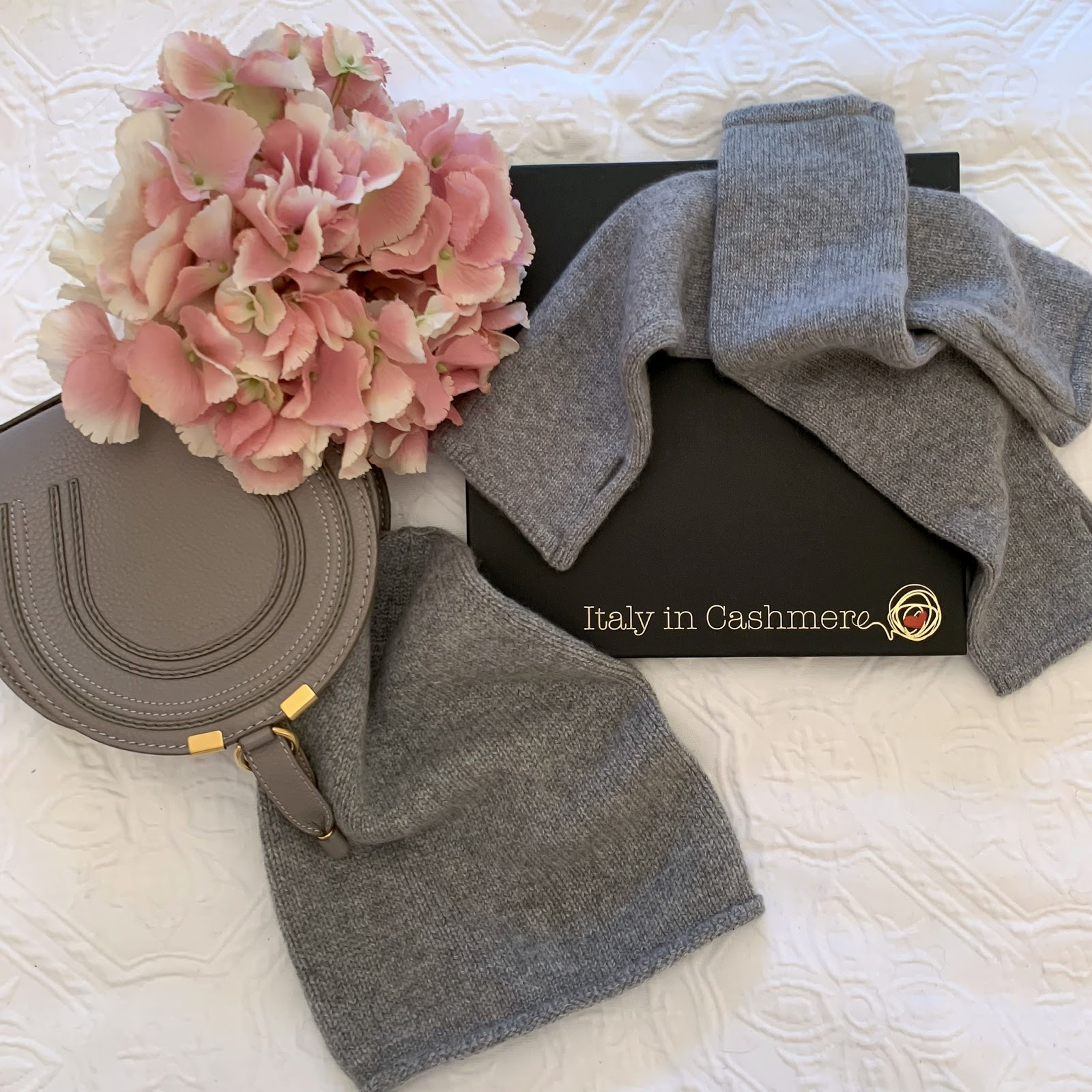 my midlife fashion, italy in cashmere, italy in cashmere pure cashmere knitted slouchy beanie, italy in cashmere light grey pure cashmere fingerless long wrist warmer gloves