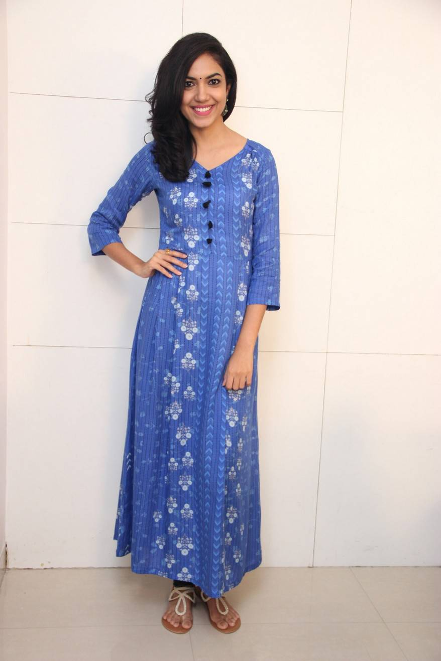 Tollywood Actress Ritu Varma Long Hair In Blue Dress