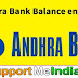 Andhra Bank Balance Enquiry Number By Missed call