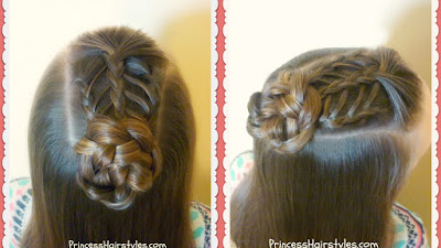 Triple feather braid top knot hairstyle tutorial