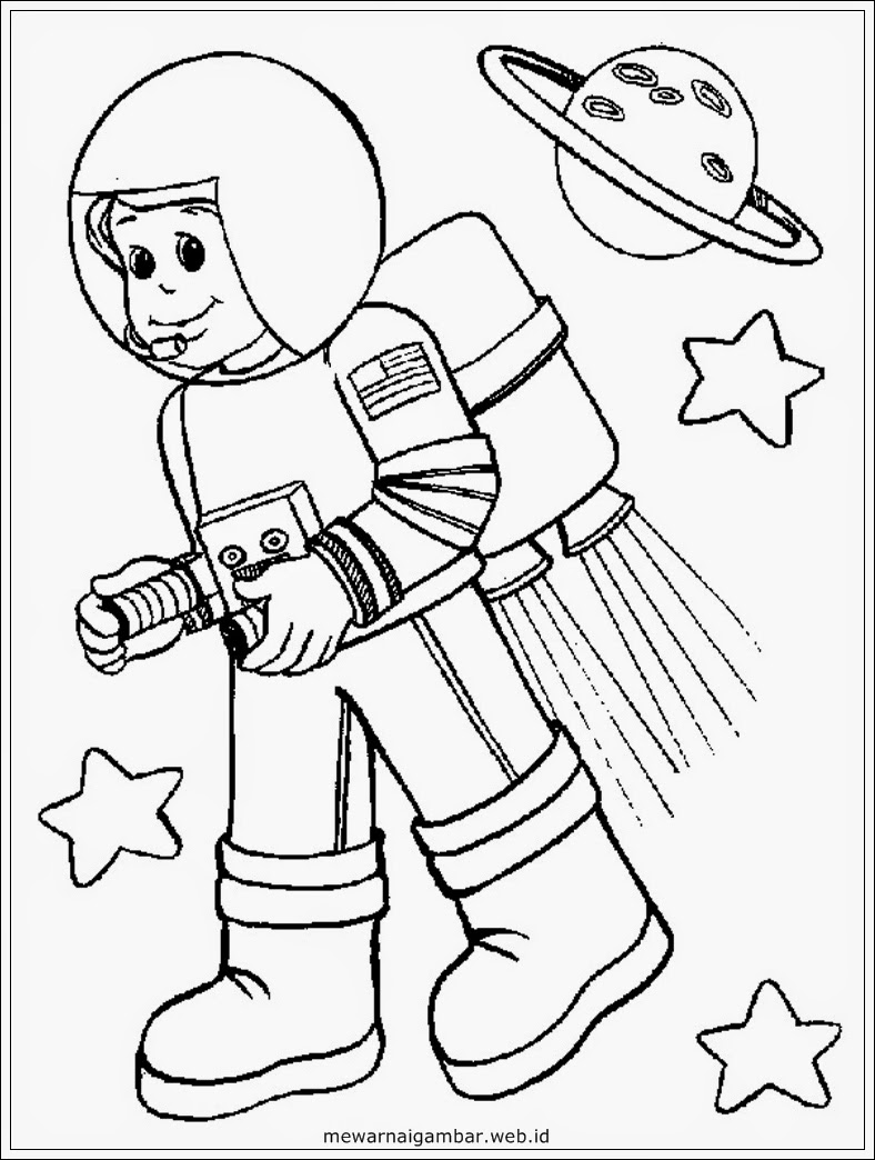 astronaut grabbing a star coloring page free printable - HD 768×1024