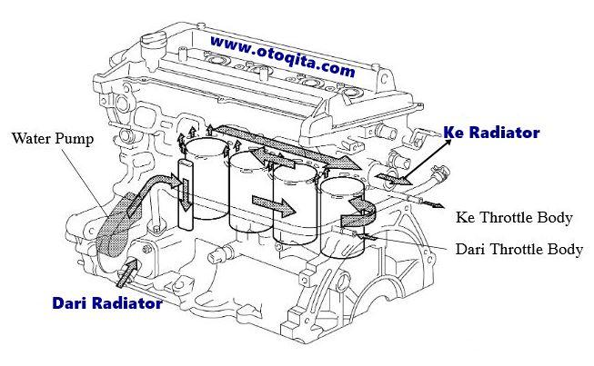 Gambar sirkulasi air radiator pada mesin 1nz-fe