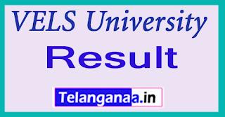 VELS University Result 2017 UG PG Exam Result