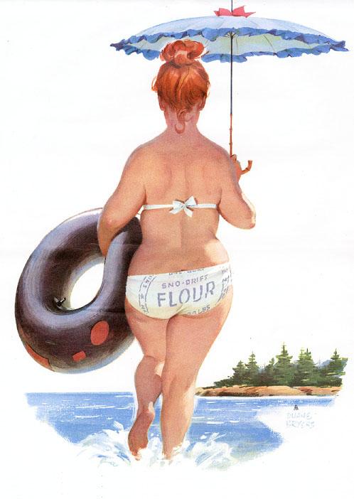 Chica gordita de  Duane Bryers  va a la playa con flotador