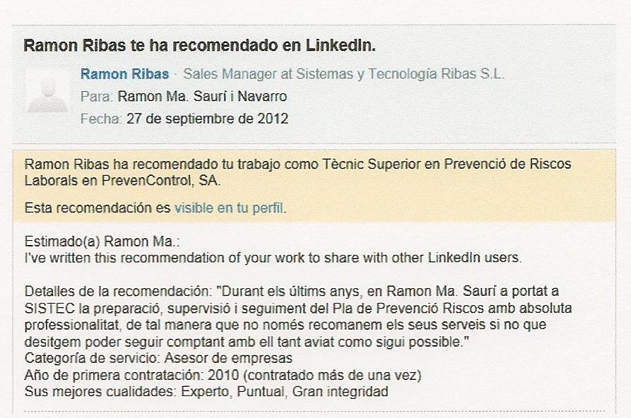 Ramon Ma Saurí i Navarro \u2013 Recomendaciones Profesionales Otras