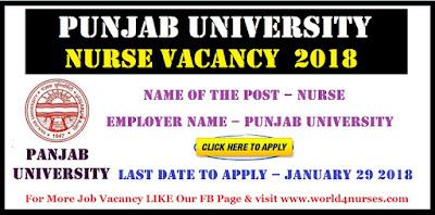 Punjab University Nurse Vacancy January 2018