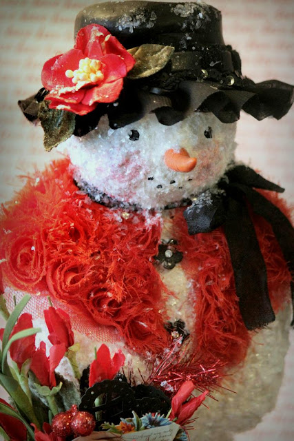 "Valentine themed snow girl, ""You Make My Heart Sing""!"