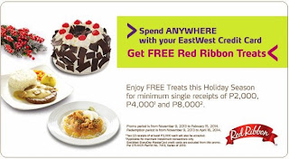 EastWest Credit Card: Free Red Ribbon Treats, spend anywhere, EastWest Credit Card promo, promotion Philippine Promotion, Philippine promo, freebies