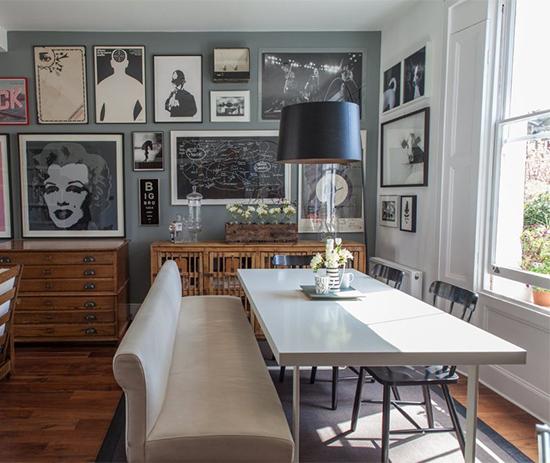 sala decorada, mural de quadros, sala ampla, sala de jantar