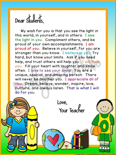 A close up view of a welcome motivational letter for students or children