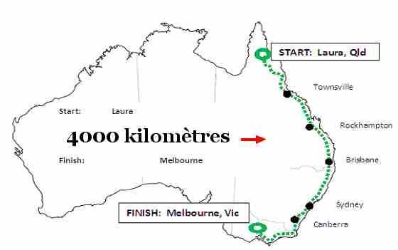 parcours de 4000km effectue par Vratka Pokorna en Australie