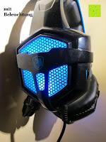 seitlich: LIHAO Sades SA-738 Spiel Kopfhörer Stereo USB Gaming Headset mit Mikrofon Blau LED Leuchte mit Sades Retail Geschenk Verpackung