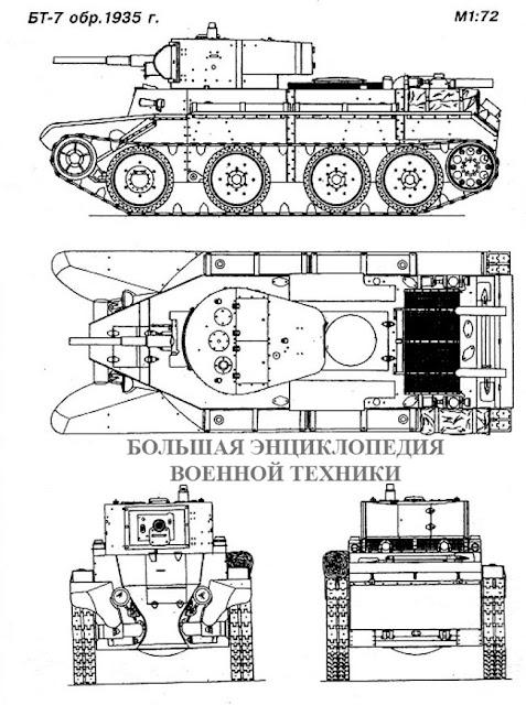 Легкий колесно-гусеничный танк БТ-7 образца 1935 года