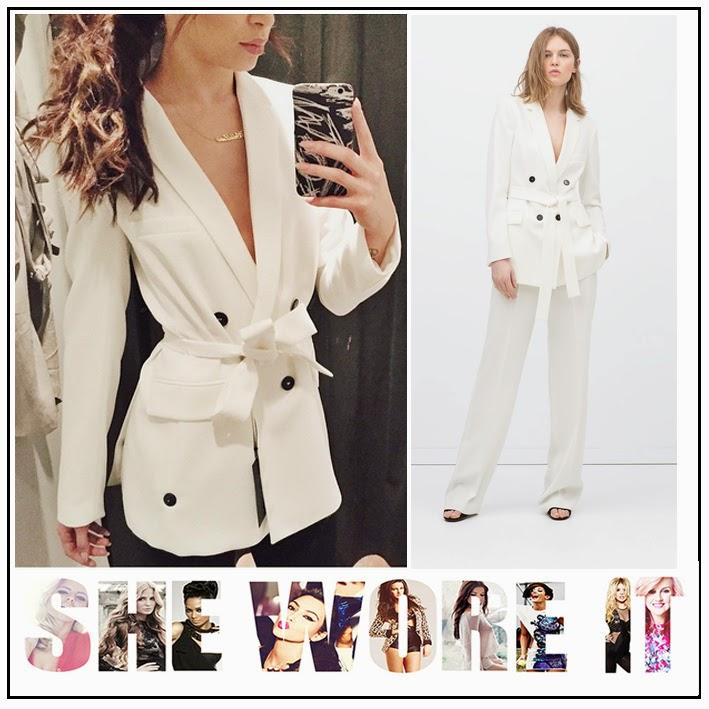 Belted, Black Buttons, Bright White, Celebrity Fashion, Celebrity Style, Danielle Peazer, Lapel Collar, Long Blazer, Side Pocket Detail, Zara,