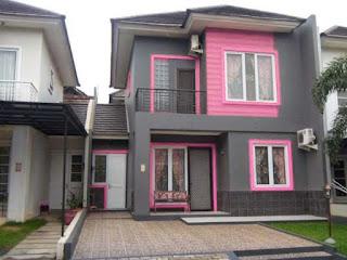 rumah minimalis warna pink dan abu abu