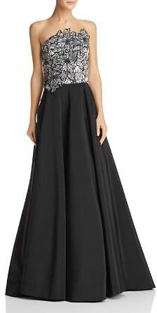 Nha Khanh Strapless Floral Ball Gown