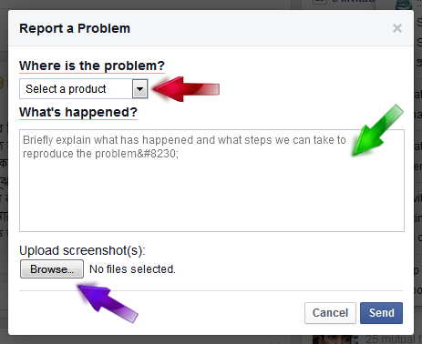 how to report a problem to facebook