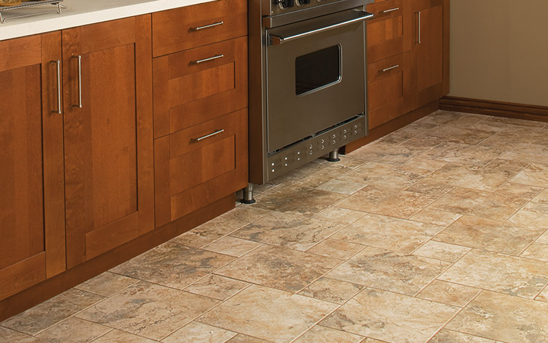 Practical, beautiful tile is the perfect floor for this kitchen