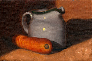 Oil painting of a carrot beside a porcelain milk jug.