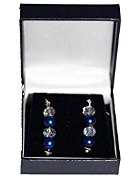 Pendientes de gota, perla sintética azul oscuro y cristal transparente con pendientes chapados en plata