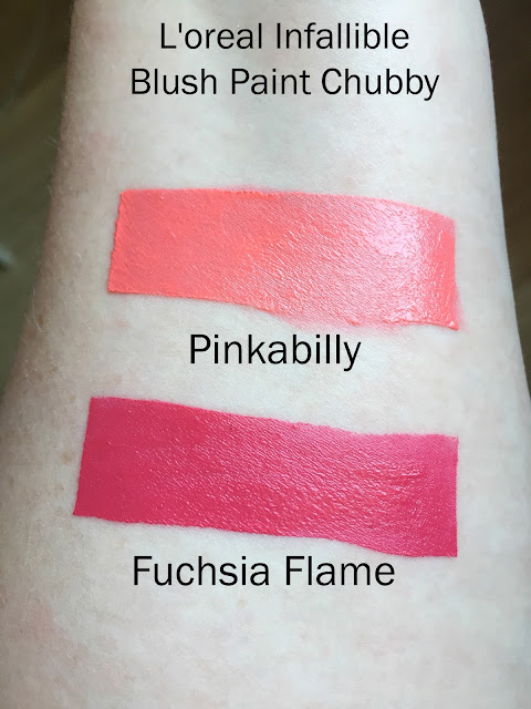L'Oreal Infallible Blush Paint Chubby Stick Swatches