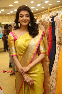Actress Kajal Agarwal Stills in Golden Silk Saree at Trisha Sesigner Store Launch  0097.jpg