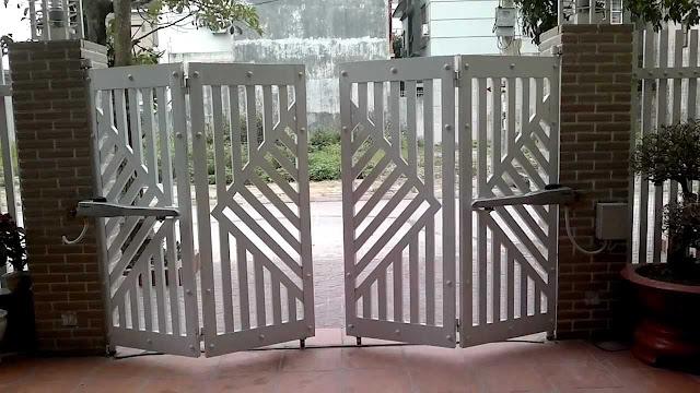 cổng inox 4 cánh đẹp - mẫu 13