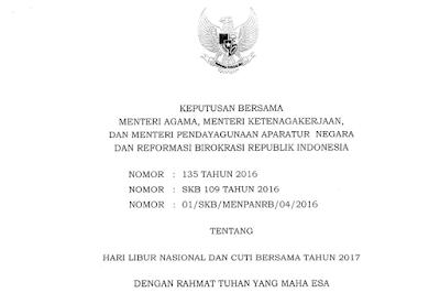 Download Surat SKB KEMENAG, Tentang Hari Libur Nasional dan Cuti Bersama Tahun 2017