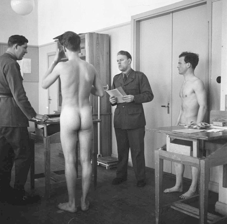 Naked russian schoolboys passing army medical examinations