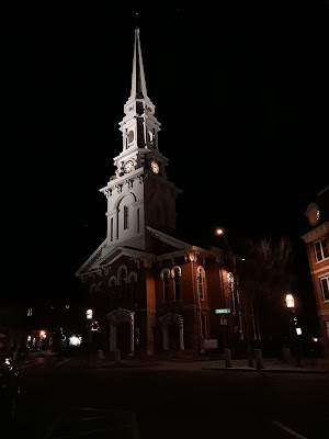 North Church, lit up at night in downtown Portsmouth New Hampshire, New England USA