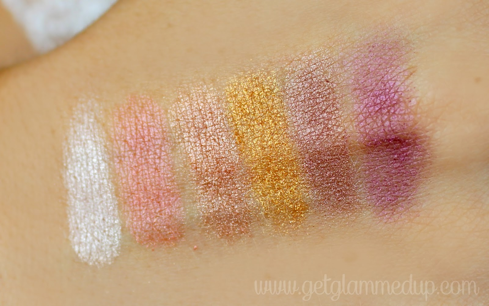 elf studio prism palette in sunset swatches