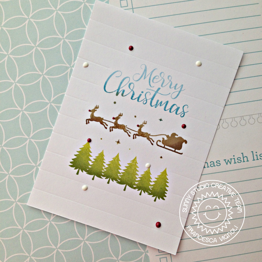 Sunny Studio: Here Comes Santa Clean and Simple Christmas Card with ...