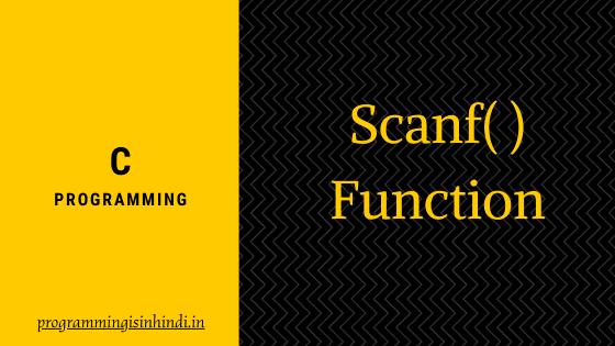 Scanf function c programming Hindi tutorials