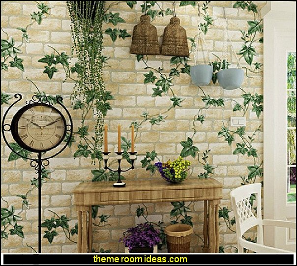 Green Leaves Brick Texture Pattern Wallpaper