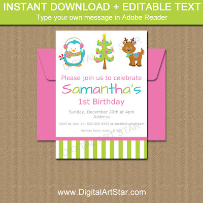 printable girl Christmas invitations in pink, lime, blue