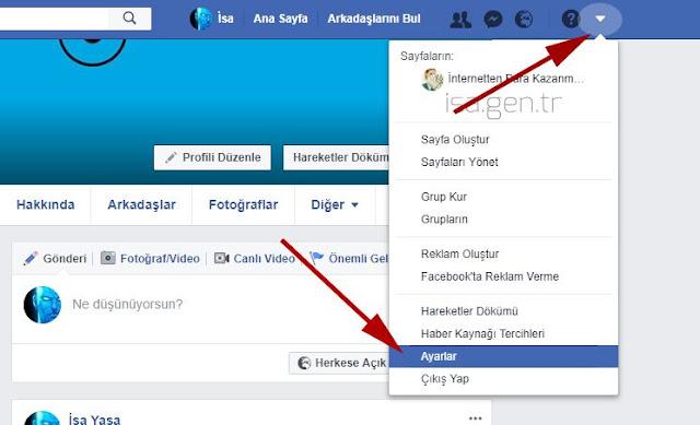 Facebook hesabını dondur ayarlar