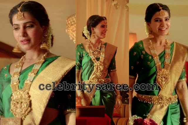 Samantha Green Plain Silk Saree