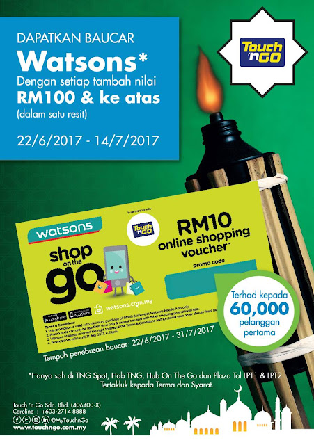 Top Up Touch 'n Go Card Malaysia Reload Free Watsons Voucher Promotion