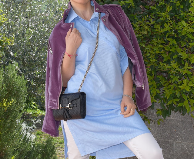borsa Gucci chiodo in ciniglia outfit primaverile outfit aprile 2019 mariafelicia magno fashion blogger colorblock by felym fashion bloggers italy april 2019 outfits