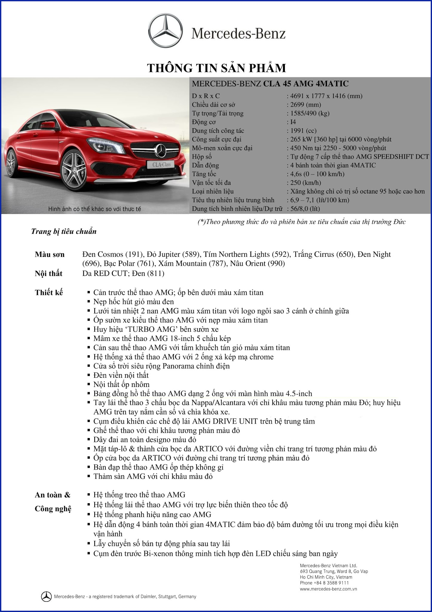 Bảng thông số kỹ thuật Mercedes AMG CLA 45 4MATIC 2017 tại Mercedes Trường Chinh